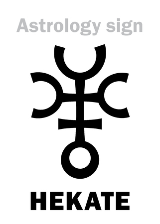 Astrology Alphabet: HEKATE (Trivia), asteroid #100. Hieroglyphics character sign (single symbol). Illustration