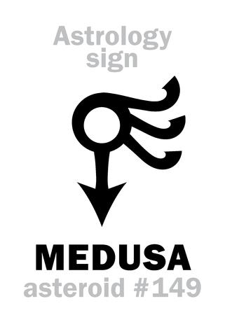 Astrology Alphabet: MEDUSA, asteroid #149. Hieroglyphics character sign (single symbol).