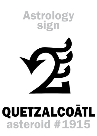 Astrology Alphabet: QUETZALCOATL (Feathered Serpent), asteroid #1915. Hieroglyphics character sign (single symbol).