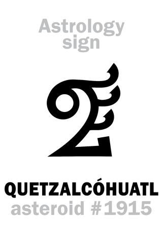 Astrology Alphabet: QUETZALCOHUATL (Feathered Serpent), asteroid #1915. Hieroglyphics character sign (single symbol). Illustration