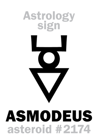 Astrology Alphabet: ASMODEUS (Hashmedai), asteroid #2174. Hieroglyphics character sign (single symbol). Illustration