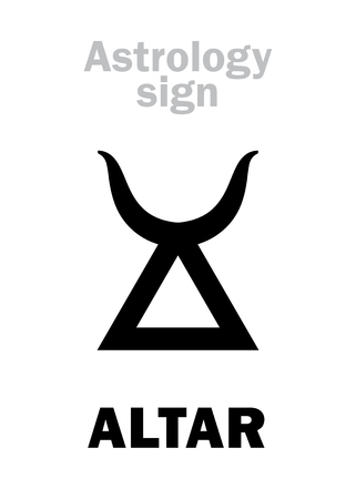 Astrology Alphabet: ALTAR (sanctuary). Hieroglyphics character sign (single symbol). Illustration