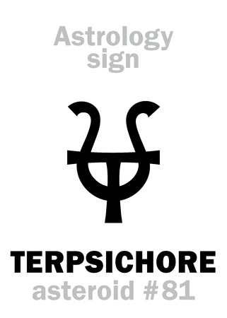 Astrology Alphabet: TERPSICHORE (muse of dance), asteroid #81. Hieroglyphics character sign (single symbol).