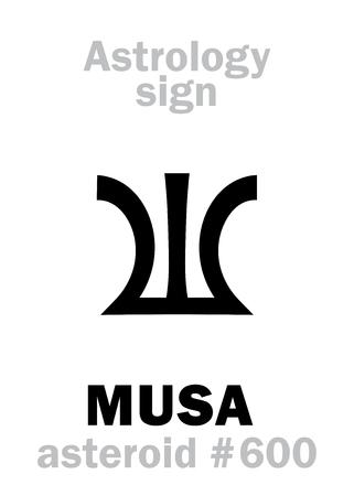 Astrology Alphabet: MUSA (Divine inspiration), asteroid #600. Hieroglyphics character sign (single symbol).