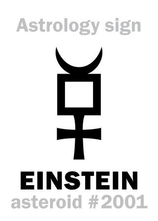Astrology Alphabet: EINSTEIN, asteroid #2001. Hieroglyphics character sign (single symbol). Stock Vector - 86667641