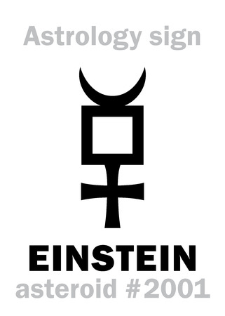Astrology Alphabet: EINSTEIN, asteroid #2001. Hieroglyphics character sign (single symbol).