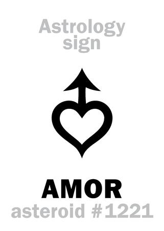 占星術アルファベット: アモール、小惑星 #1221。象形文字文字記号 (シングルシンボル)。  イラスト・ベクター素材