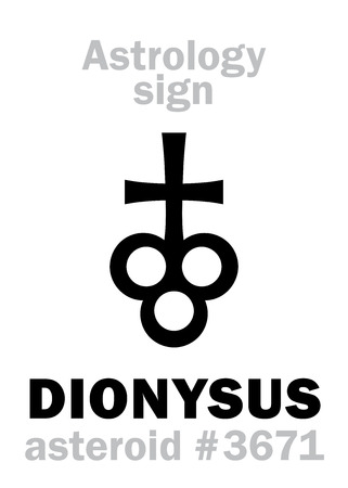 Astrology Alphabet: DIONYSUS, asteroid #3671. Hieroglyphics character sign (single symbol).