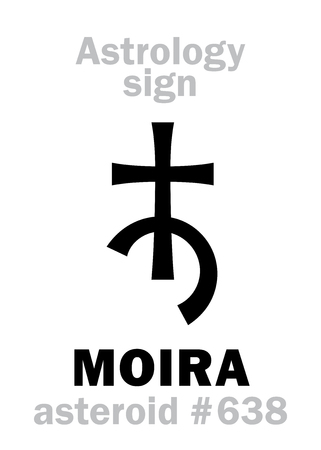 Astrology Alphabet: MOIRA, asteroid #638. Hieroglyphics character sign (single symbol).