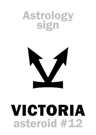 Astrology Alphabet: VICTORIA, asteroid #12. Hieroglyphics character sign (single symbol). Illustration