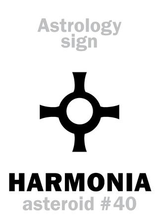 An astrology alphabet: HARMONIA, asteroid. Hieroglyphics character sign (single symbol).