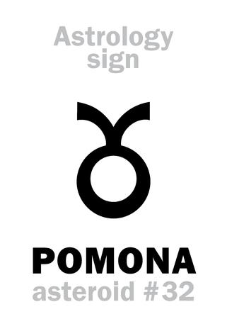 Astrology Alphabet: POMONA, asteroid #32. Hieroglyphics character sign (single symbol).