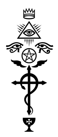 CRUX SERPENTINES (The Serpent Cross). Mystical signs and Occult symbols of Illuminati and Freemasonry. Reklamní fotografie - 86133283