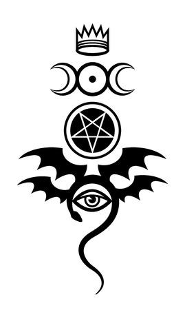 사악한 눈 (더 큰 Malefic). 요술의 상징과 신성의 표시. 악마 기호입니다.