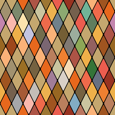Harlequins golden autumnal seamless pattern. Illustration
