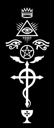 CRUX SERPENTINES: Corona, Occhio della Provvidenza, La croce del serpente alato, Pentagramma nero e Santo Graal. (Segni mistici e simboli occulti di Illuminati e Massoneria). Vettoriali