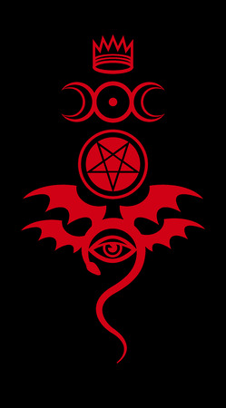 The Diabolic eerie damn. Evil in its pure form. Emblem of Witchcraft and Sign of Necromancy. Mystical symbol. Ilustracja