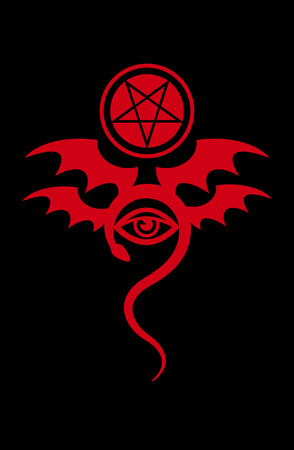 EVIL EYE (The Greater Malefic). Emblem of Witchcraft and Sign of Necromancy. Bloody Mystical Symbol.
