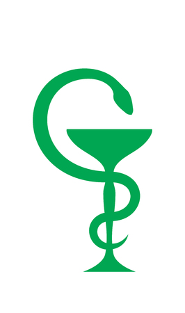 Cup of Aesculapius (The bowl with a snake twined around it). Antique symbol of healing and medicine. The emblem of pharmacy and healthcare. Illustration