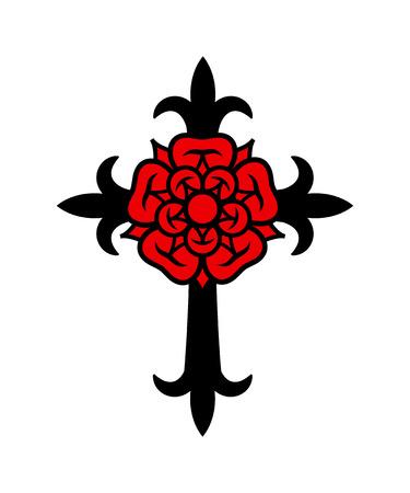 Rosenkreuz (Cross with Rose). Sacral mystical symbol of The Rosicrucians (Rosenkreuzer), Emblem of secret society.