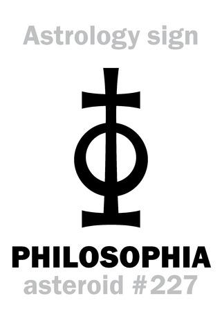 Alfabeto da astrologia: FILOSOFIA, asteróide # 227. Sinal de personagem hieróglifos (único símbolo). Foto de archivo - 89040142