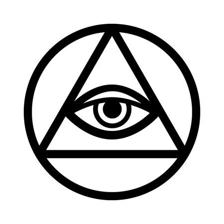 Ojo de Dios que todo lo ve (El Ojo de la Providencia | Ojo de la omnisciencia | Delta luminosa | Oculus Dei). Antiguo símbolo místico sacro de los Illuminati y la masonería. Ilustración de vector