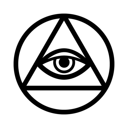 All-Seeing Eye of God (The Eye of Providence | Eye of Omniscience | Luminous Delta | Oculus Dei). Ancient mystical sacral symbol of Illuminati and Freemasonry. Illustration