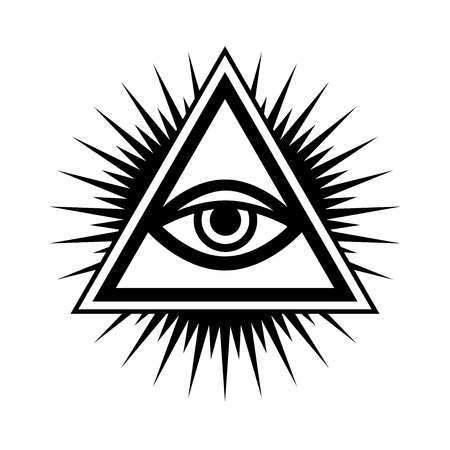 All-Seeing Eye of God (The Eye of Providence | Eye of Omniscience | Luminous Delta |  . Ancient mystical sacral symbol of Illuminati and Freemasonry. Иллюстрация