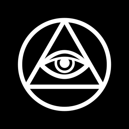 All-Seeing Eye of God (The Eye of Providence | Eye of Omniscience | Luminous Delta | Oculus Dei). Ancient mystical sacral symbol of Illuminati and Freemasonry. Çizim