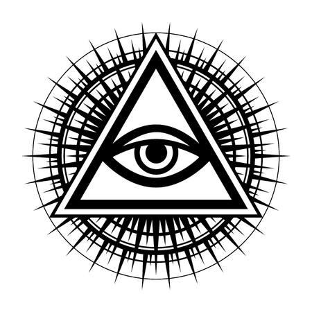 All-Seeing Eye of God (The Eye of Providence | Eye of Omniscience | Luminous Delta | Oculus Dei) in isolated background. Ancient mystical sacral symbol of Illuminati and Freemasonry.