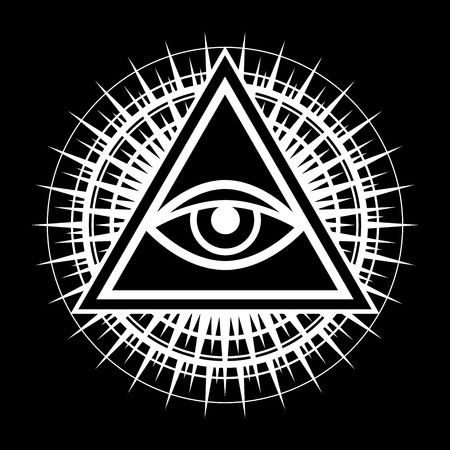 All-Seeing Eye of God (The Eye of Providence   Eye of Omniscience   Luminous Delta   Oculus Dei). Ancient mystical sacral symbol of Illuminati and Freemasonry. Vettoriali