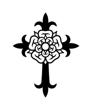 Rosenkreuz (Cross with Rose). Sacral mystical symbol of The Rosicrucians (Rosenkreuzer), The Emblem of Medieval secret society. Ilustracja