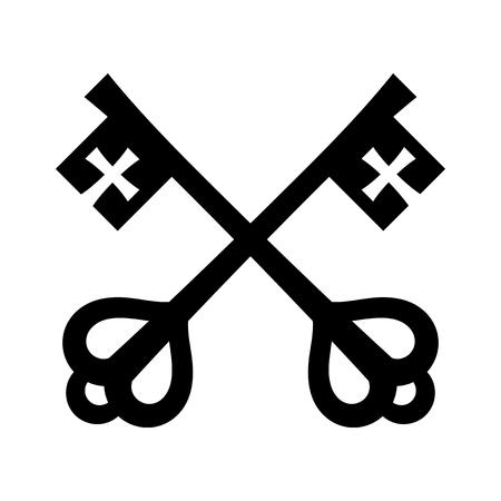 Klucze św. Piotra (Klucze do Królestwa Niebieskiego), klucze papieskie. Katolicki symbol wiary i zbawienia. Godło Stolicy Apostolskiej. Ilustracje wektorowe