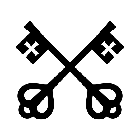 The keys of St. Peter (Keys to The Kingdom of Heaven), papal keys. The Catholic symbol of faith and salvation. Emblem of the Holy See. Illustration