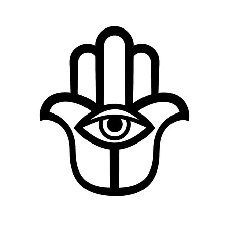 The Hand of Fatima (Hamsa), or Hand of God. Ancient traditional sacred protection amulet of The Middle East. Religious symbol in the Arabic, Jewish, Indian cultures. Illustration