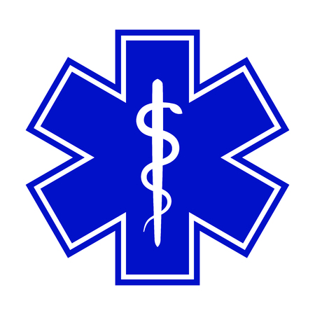 The Star of Life (with the staff of Asclepius). Modern symbol of The Emergency medical services, ambulance and paramedic services.