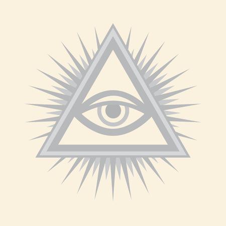 All-Seeing Eye of God. Ancient mystical sacral symbol of Illuminati and Freemasonry. — Silver Selenium version. Ilustracja