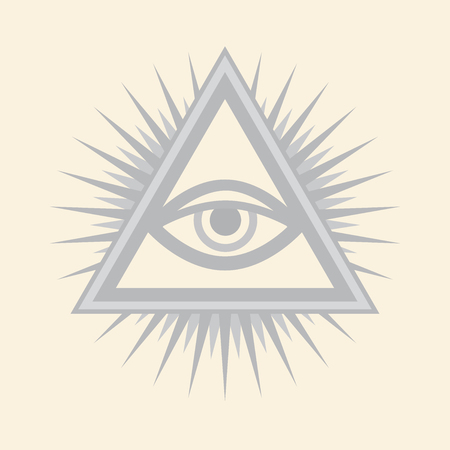 All-Seeing Eye of God. Ancient mystical sacral symbol of Illuminati and Freemasonry. — Silver Selenium version. Illustration