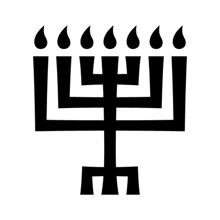 Menorah (ancient Hebrew seven-candleholder), sacred candelabrum with seven lamps, used in The Temple in Jerusalem. Traditional Religious Symbol of Judaism since ancient times. Illustration