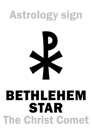 Astrology Alphabet: BETHLEHEM STAR (The Christ Comet), hypothetical comet observed in the Ancient East at the beginning of the first Millennium A.D. — Hieroglyphics character sign (single symbol).