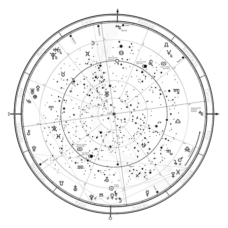 Astrological Celestial detailed map of Northern Hemisphere.