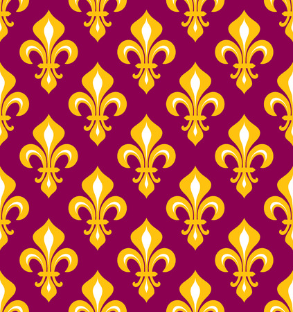 Royal heraldic Lilies (Fleur-de-lis) — purple and gold, seamless pattern, wallpaper background.