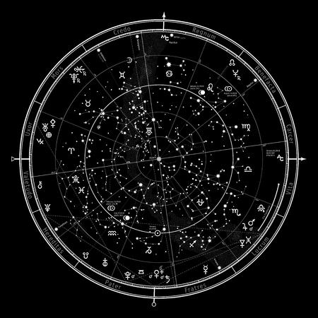 Astrologische Himmelskarte der nördlichen Hemisphäre. Detaillierte Übersichtskarte mit Symbolen und Tierkreiszeichen, Planeten, Asteroiden