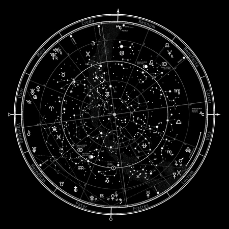 Astrological Celestial map of Northern Hemisphere. Detailed outline chart with symbols and signs of Zodiac, planets, asteroids