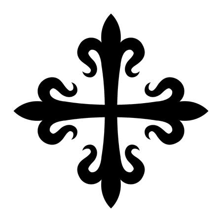 Croix fleurdelisée (cross of lilies), medieval heraldic cross. Illustration