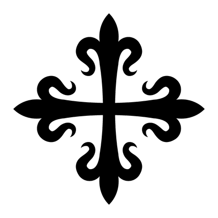 Croix fleurdelisée (cross of lilies), medieval heraldic cross. Illustration