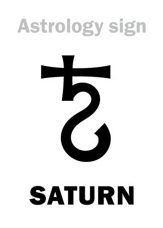 Astrology Alphabet: SATURN, classic major social planet. Hieroglyphics character sign (medieval symbol). Illustration