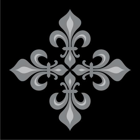 Croix Fleurdelisée (Cross of Lilies), Royal heraldic cross. Illustration