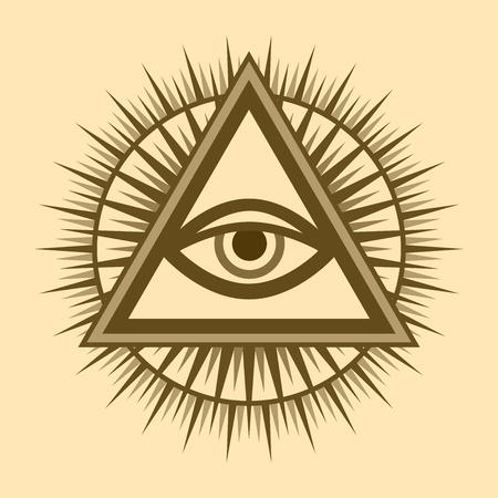 All-Seeing Eye of God (The Eye of Providence | Eye of Omniscience | Luminous Delta | Oculus Dei). Ancient mystical sacral symbol of Illuminati and Freemasonry. Ilustração