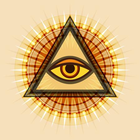 All-Seeing Eye of God (The Eye of Providence | Eye of Omniscience | Luminous Delta | Oculus Dei). Ancient mystical sacral symbol of Illuminati and Freemasonry. Illustration